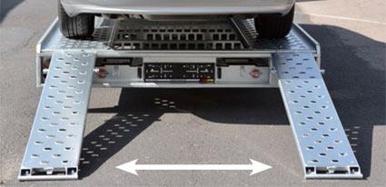 Die Auffahrschienen sind stufenlos am Soft Dock (Kupplungsschutz) Kennzeichenträger auf jede gängige Fahrzeugspur einstellbar.